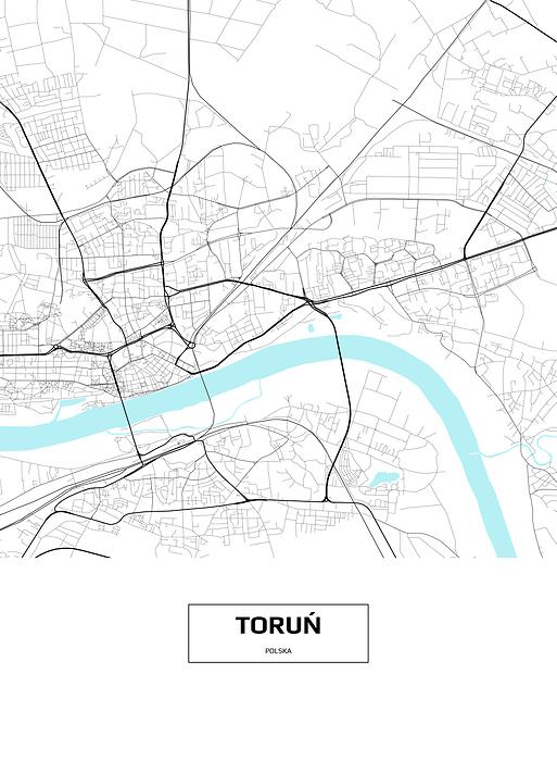 Mapa Torunia Z Napisem Na Bialym Tle Plakat Premium Decor Mint