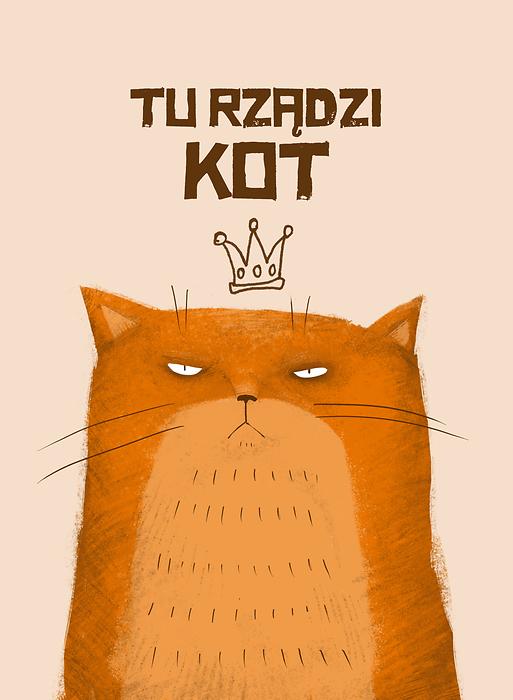Tu Rządzi Kot Ilustracja Z Rudym Kotem
