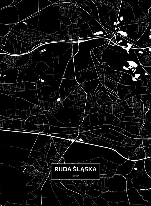 Mapa Rudy śląskiej Czarno Biała