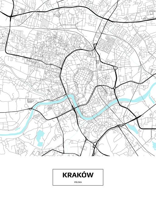 Mapa Krakowa Z Podpisem Na Bialym Tle Plakat Premium Decor Mint