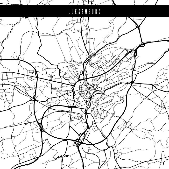Mapy Miasta Swiata Luksemburg Biala Plakat Premium Decor Mint