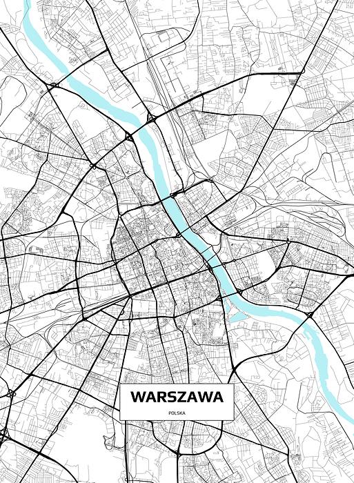 Mapa Warszawy Plakat Premium Decor Mint