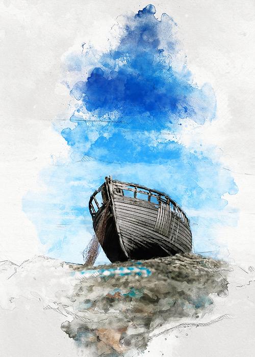 łódka Na Wodzie Ilustracja