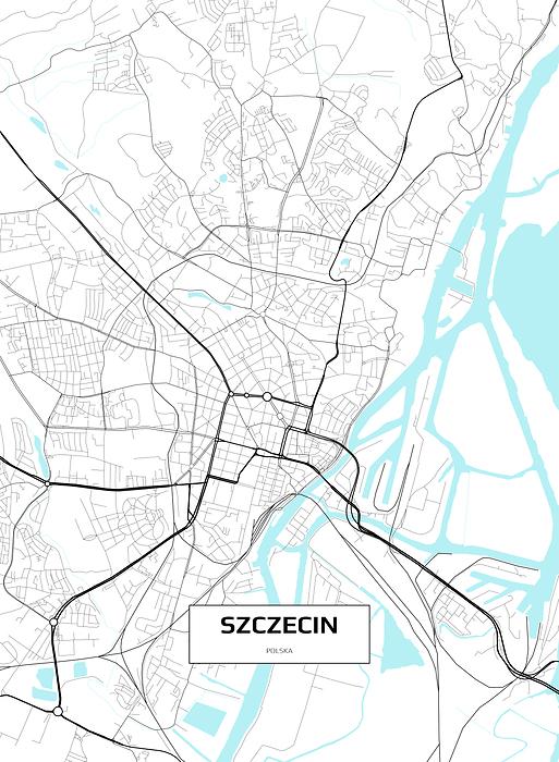 Mapa Szczecina Obraz W Ramie Decor Mint
