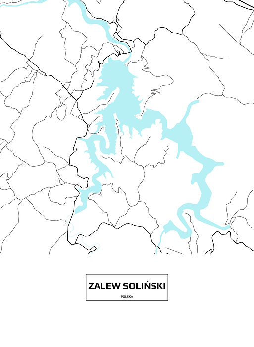 Mapa Solina Z Napisem Na Bialym Tle Plakat Premium Decor Mint