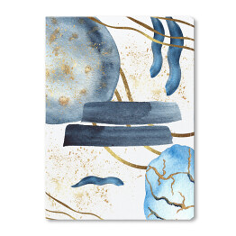 Watercolor abstract templates with blue and Indigo spots, shapes, textures with gold elements