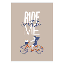 Typografia z rowerem - napis Ride with me